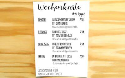 Wochenkarte vom 19.-24.August